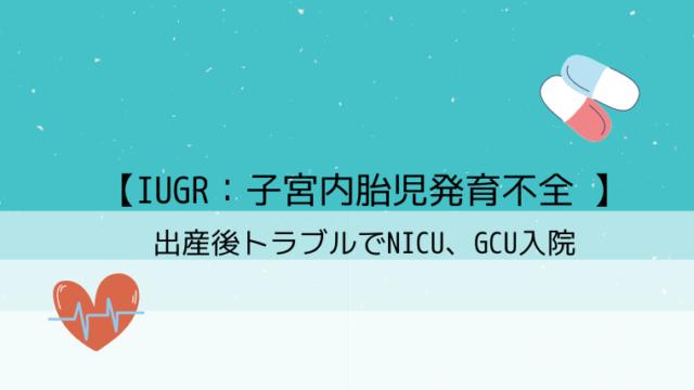 【IUGR:子宮内胎児発育不全 】出産後トラブルでNICU、GCU入院