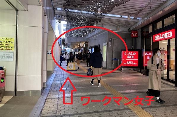 ワークマン女子・東京スカイツリー駅正面口改札左手